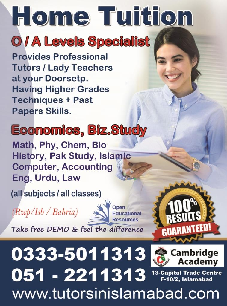 Cambridge Academy  Home Tutors O/A Levels Specialist