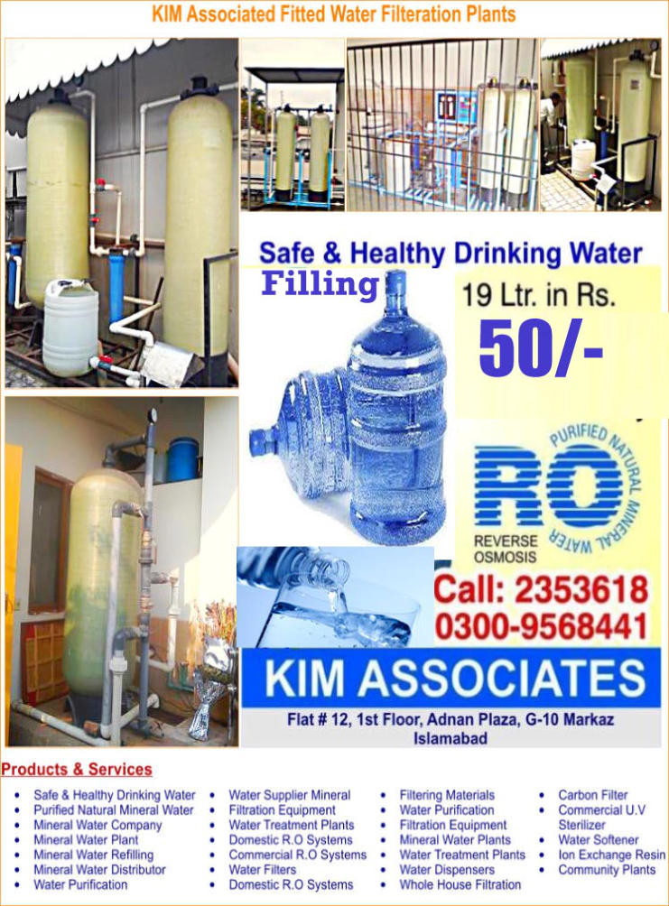 Kim Associates - Water filtration plant and mineral water supplier Islamabad Islamabad